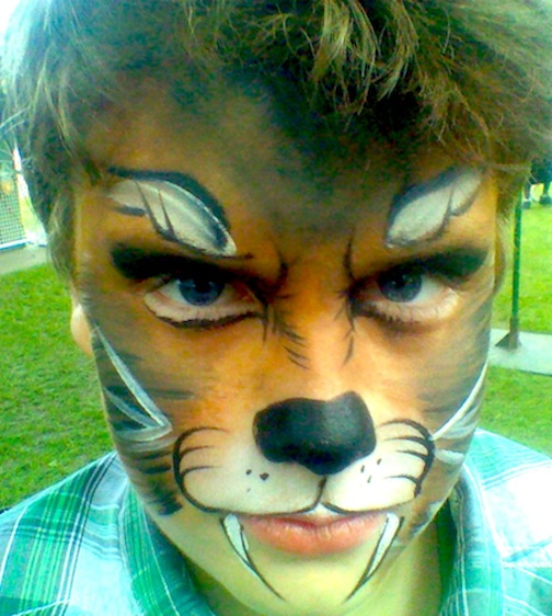 Colorful Wolf Paintings Face Paint Wolf